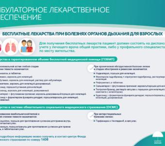 Бесплатные лекарства при болезнях органов дыхания у взрослых